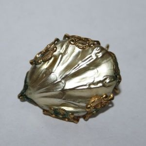 Vintage gold pearl shell brooch